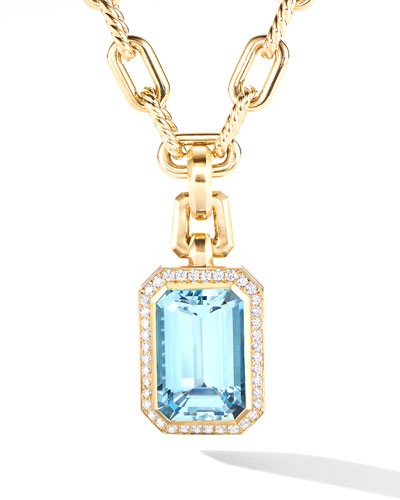 Novella 18k Blue Topaz Pendant w/ Diamonds