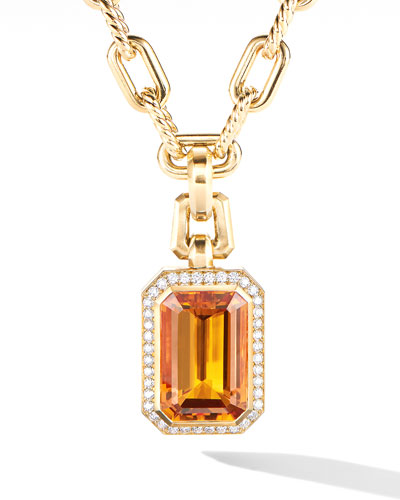 Novella 18k Citrine Pendant w/ Diamonds