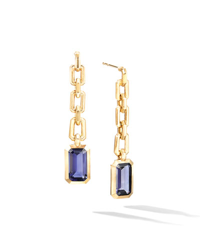 Novella 18k Chain Drop Earrings w/ Iolite