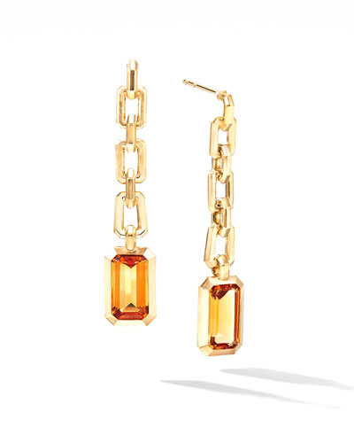 Novella 18k Chain Drop Earrings w/ Citrine