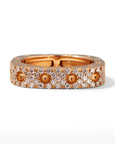 Roberto Coin Pois Moi 18k Rose Gold Square Ring w/ Diamonds, Size 6.5