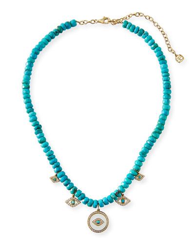 14k Turquoise & Evil Eye Charm Necklace
