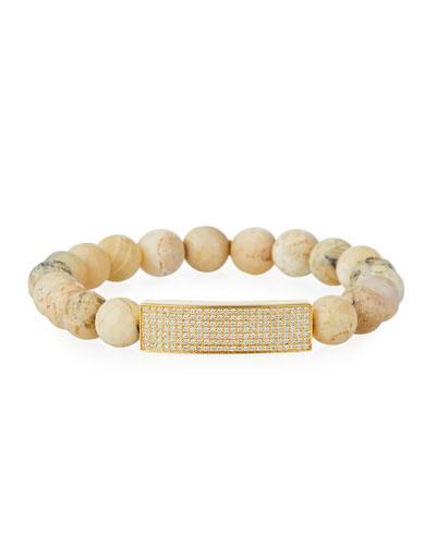 14k Diamond Pave Bar & African Opal Bracelet