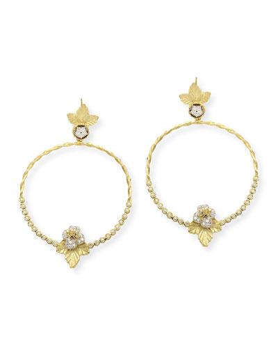 18k Diamond Flower Hoop Drop Earrings