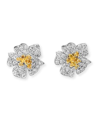 Enchanted Garden 18k White & Yellow Diamond Earrings