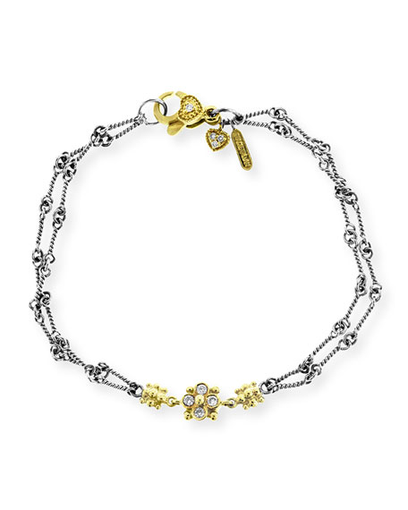 Stambolian  Two-Tone Gold Double-Link Hand Made Chain Bracelet