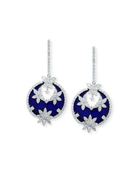 Stambolian 18k White Gold Blue Enamel & Diamond Earrings