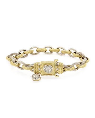 18k Love Link Bracelet w/ Diamond Heart