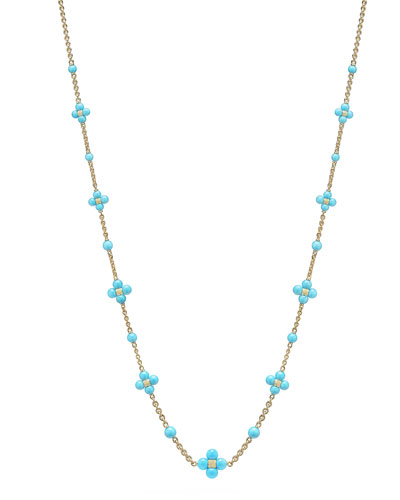 18k Round Turquoise Sequence Necklace, 24