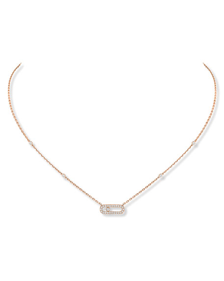Messika Move Uno Diamond Pave Necklace, Rose Gold