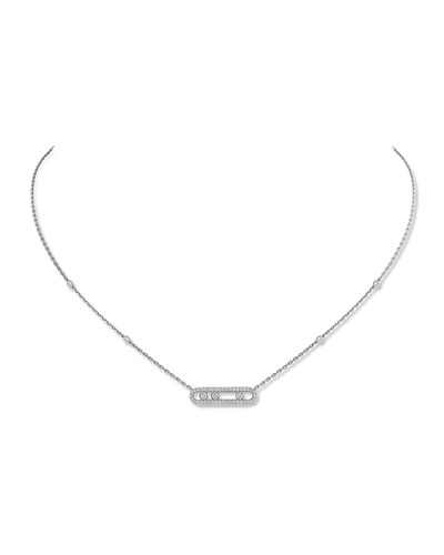 Baby Move Diamond Pave Necklace, White Gold