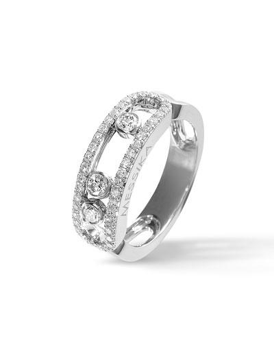 Move 18k White Gold 3-Diamond Ring, Size 55