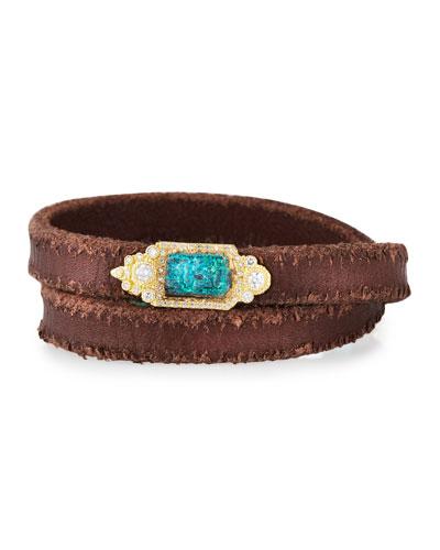 Sueno Double-Wrap Leather Bracelet w/ Diamonds & 18k Gold