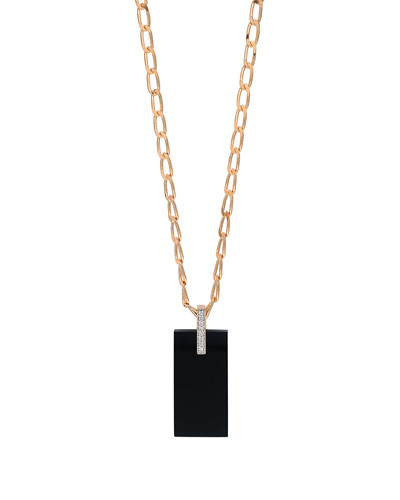 18k Rose Gold Onyx & Diamond Art Deco Necklace