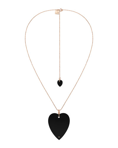 18k Rose Gold Angele Jumbo Onyx Heart Necklace