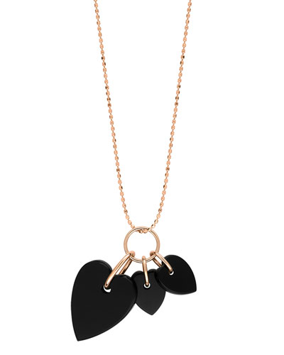 18k Rose Gold Angele 3-Onyx Heart Necklace