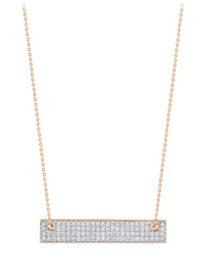 18k Rose Gold Mini Diamond Baguette Necklace