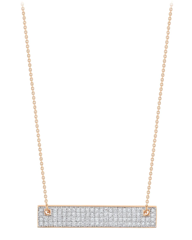 18k Rose Gold Mini Diamond Baguette Necklace