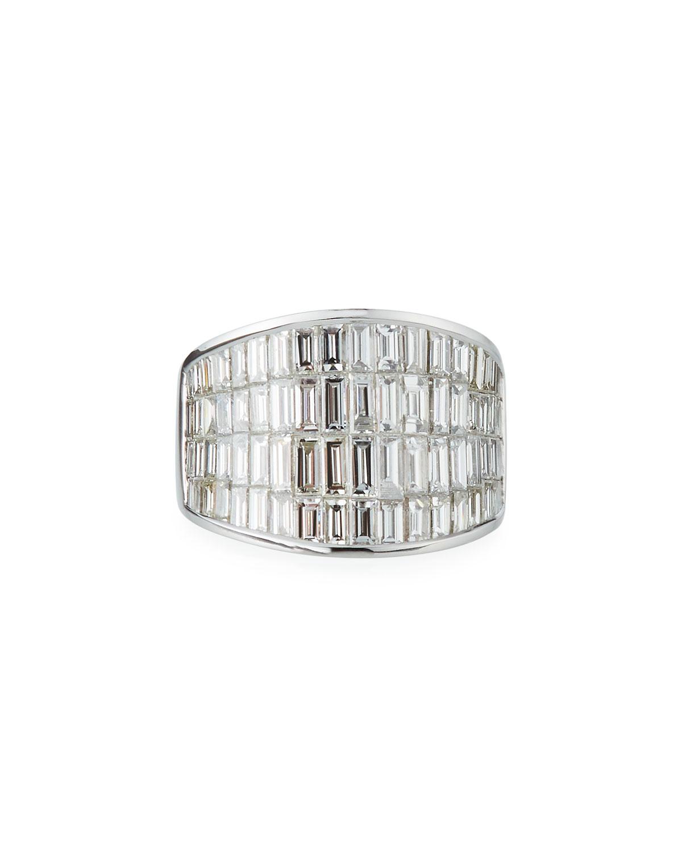 18k White Gold Diamond Baguette Galaxy Ring