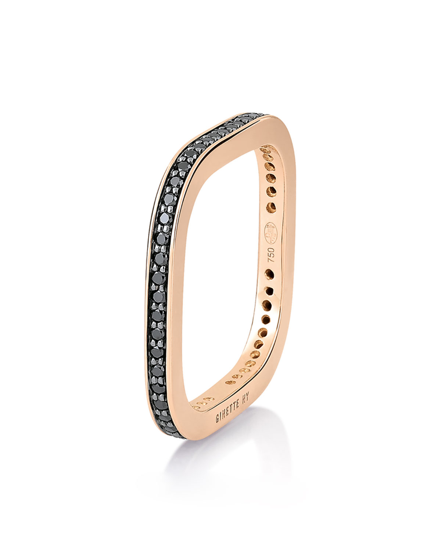 TV 18k Rose Gold Black Diamond Ring