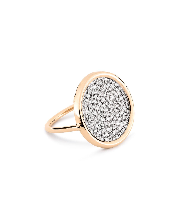 Ever 18k Rose Gold White Diamond Disc Ring