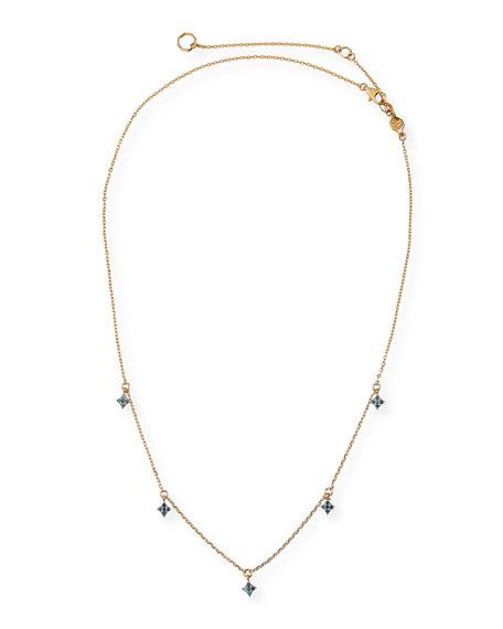 Stevie Wren 14k Gold Four-Point Blue Diamond Star Dangle Necklace