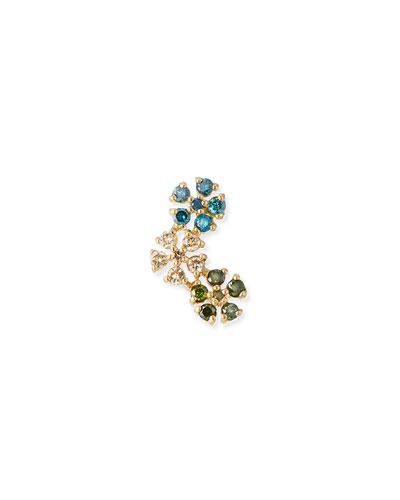 14k Gold Triple Daisy Diamond Stud Earring, Blue/Green