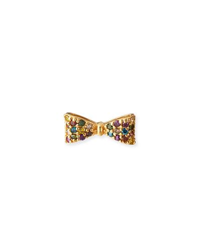 Misfit 14k Gold Rainbow Diamond Bow Earring, Single