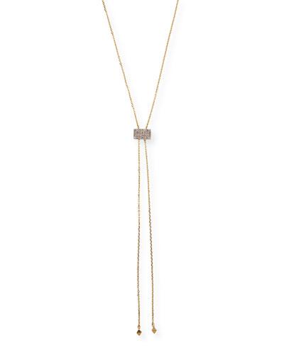 14k Gold Geometric Lariat Necklace w/ Diamonds