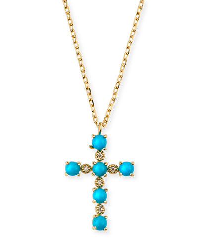 14k Gold Turquoise & Diamond Cross Pendant Necklace