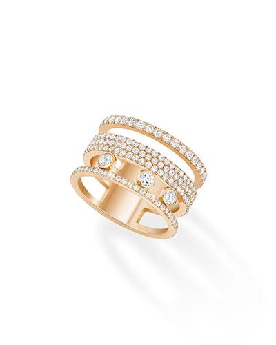 Move Romane Pave 18k Rose Gold Ring, Size 7