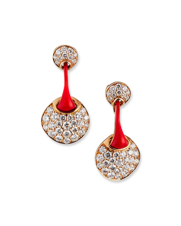 Red 18k Rose Gold Diamond Round Drop Earrings
