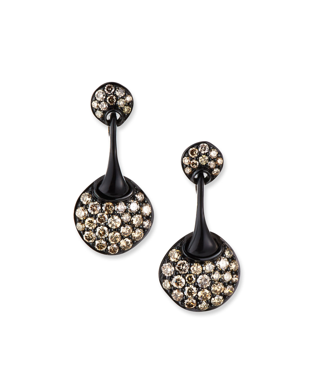 Blackened 18k Diamond Round Drop Earrings