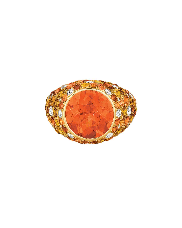 18k Yellow Gold Mandarin Garnet Ring w/ Diamonds & Sapphires
