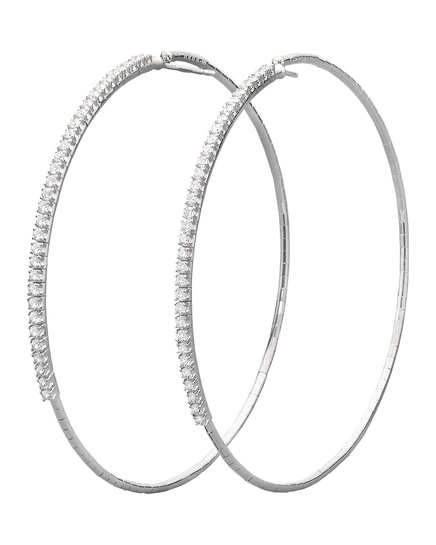 18k White Gold Diamond-Front Hoop Earrings