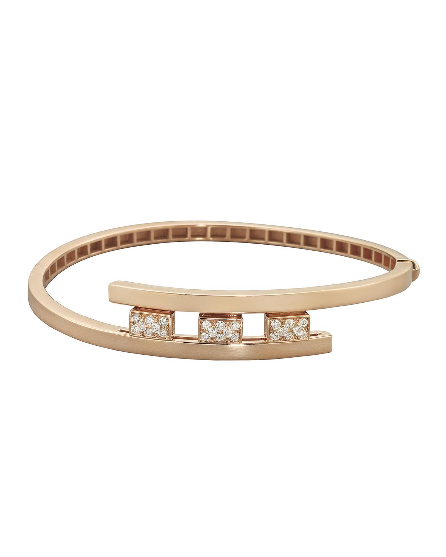 18k Rose Gold 3-Diamond Pave Bracelet