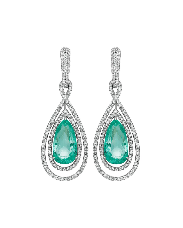 18k White Gold Beryl Pear & Diamond Earrings