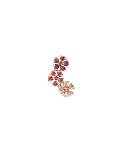 14k Rose Gold Triple Daisy Diamond Stud Earring, Pink