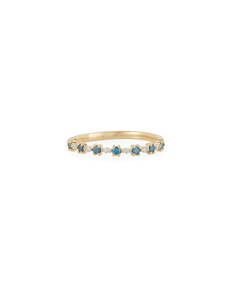 Stevie Wren 14k Gold Blue Diamond Flowerette Ring, Size 7