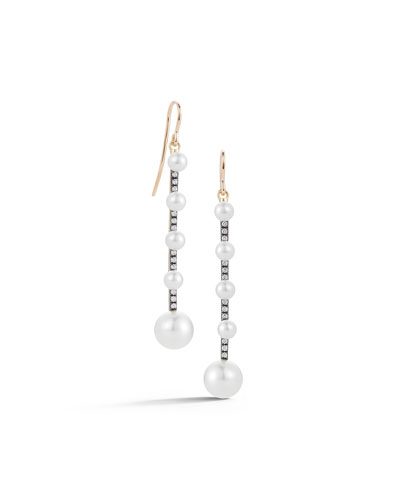 18k Yellow Gold Prive Pearl & Diamond Stick Drop Earrings