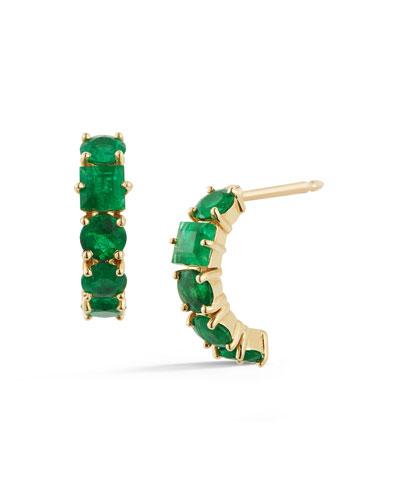 18K Yellow Gold Toujours Mixed-Cut Emerald Earrings