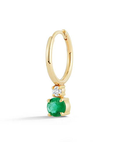 18k Yellow Gold Prive Petite Single Huggie Earring w/ Emerald & Diamond