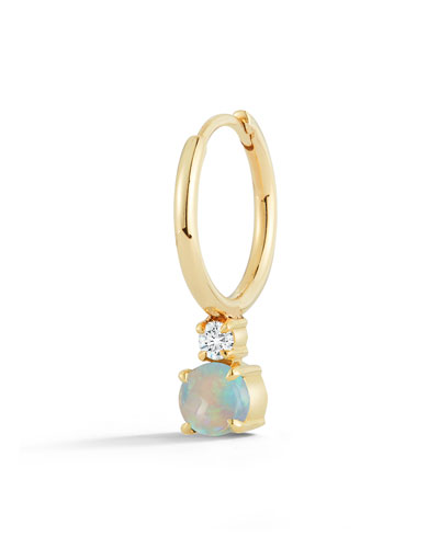 18k Yellow Gold Prive Petite Single Huggie Earring w/ Opal & Diamond