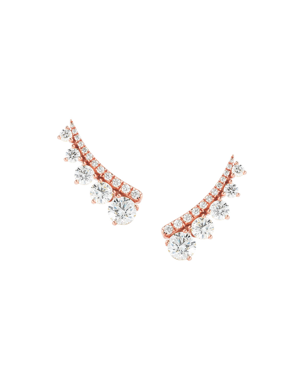 18k Rose Gold Diamond Ear Climbers