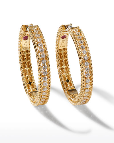 Diamond Symphony Barocco 18k Yellow Gold Diamond Hoop Earrings