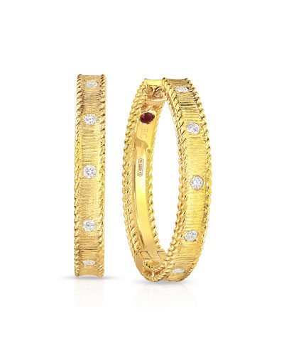Princess 18k Yellow Gold Diamond Hoop Earrings
