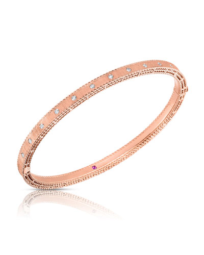 Princess 18k Rose Gold Diamond Bangle