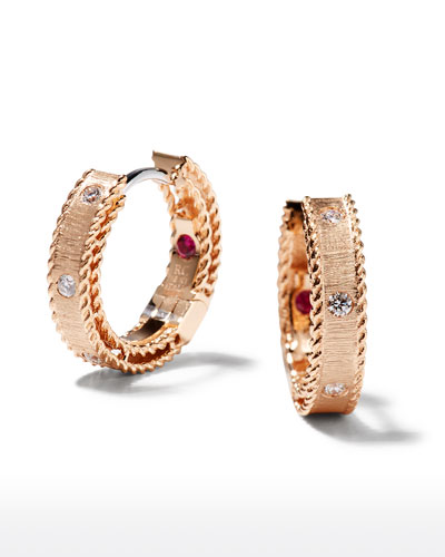 Princess 18k Rose Gold Diamond Huggie Earrings