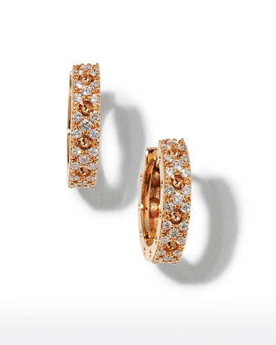 Pois Mois 18k Rose Gold Diamond Huggie Earrings
