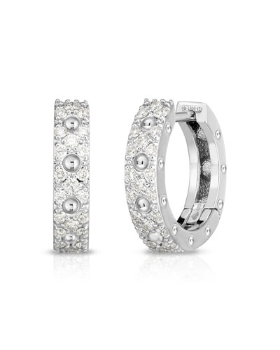 Pois Mois 18k White Gold Diamond Huggie Earrings